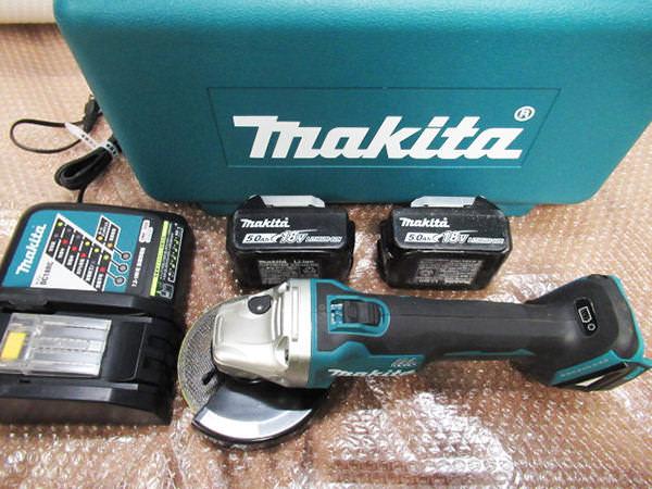 マキタ グラインダー 125mmGA504D 18V 5.0Ahバッテリ2個 買取